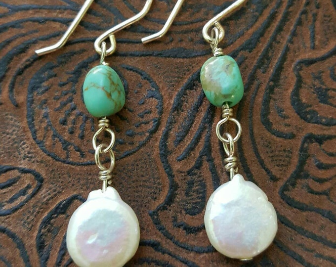 Turquoise & Freshwater Pearls Dangle Earrings, Nugget Gemstones with White Pearls, one of a kind
