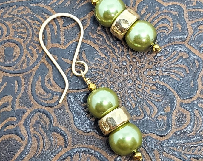 Olive Green Glass Pearls, gold filled accents, gold filled ear wires, swingy & lightweight dangles, handmade gift, elegant, everyday wear