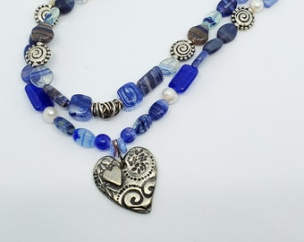 Heart Pendant Necklace, Mixed Blues Glass Beads, Freshwater Pearls, multistrand necklace, silver chain, handmade bead jewelry, one of a kind
