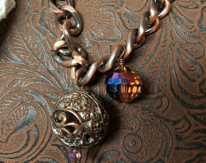 Mystic Topaz Crystal with Filigree Copper Charm Bracelet, one of a kind