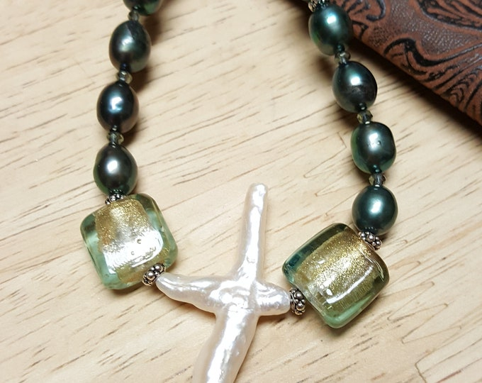 Freshwater Pearl Cross Pendant on Teal Freshwater Pearls, one of a kind necklace