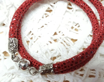 "Convertible Suede ""Snakeskin"" Pebble Leather Wrap Bracelet / Choker in soft suede, Boho styling"