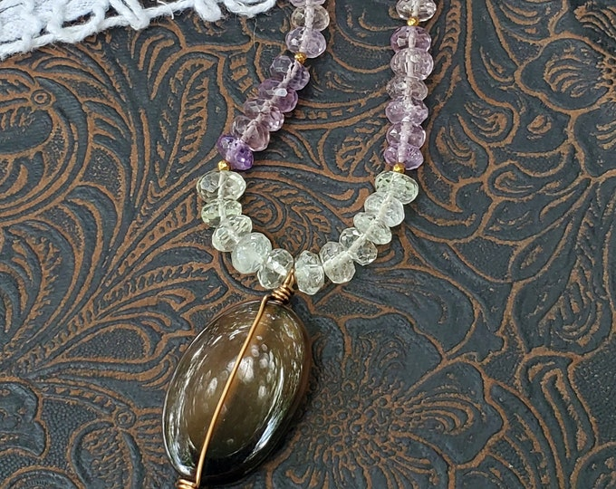 Smoky Quartz Pendant Necklace on Mixed Gemstones, antique gold chain, one of a kind