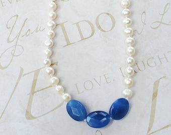 Hand-Knotted Freshwater Pearls Necklace with Blue Agate bead focal, one of a kind