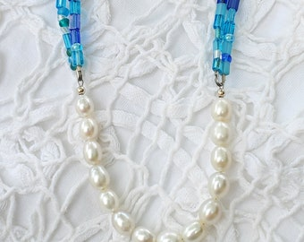 Freshwater Pearls & Blue Multicolor bead necklace, layering necklace, one of a kind