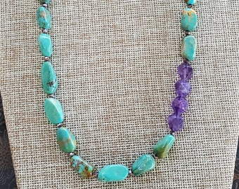 Genuine Turquoise Nuggets and Faceted Amethyst Necklace with Leather & Copper, One of a Kind