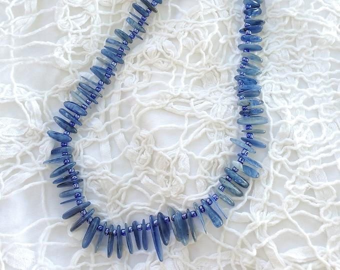Kyanite Graduated Stick Beads Gemstone Necklace, Choker, Lovely Blue, Handmade One of a Kind Jewelry