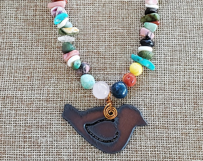 Rustic Bird Pendant on Mixed Gemstones Nugget Necklace, One of a Kind