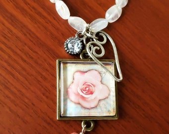 Delicate Rose Quartz nugget necklace with pink Rose Pendant, handmade Silver Heart Charm, one of a kind