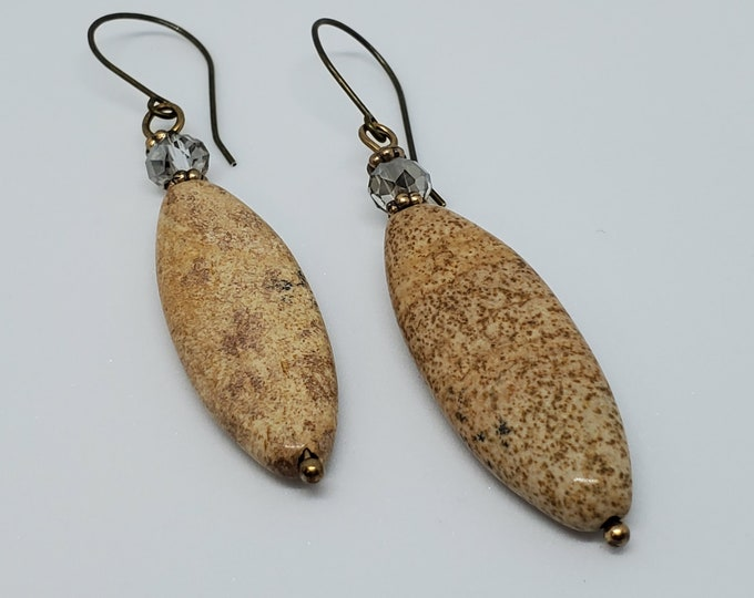 Jasper Gemstone dangle earrings with crystal accents, one of a kind