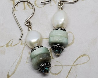 Amazonite Gemstones & Freshwater Pearls dangle earrings with antiqued silver accents, one of a kind