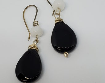 Black Agate & Snow Quartz dangle earrings, handmade gemstone jewelry, one of a kind