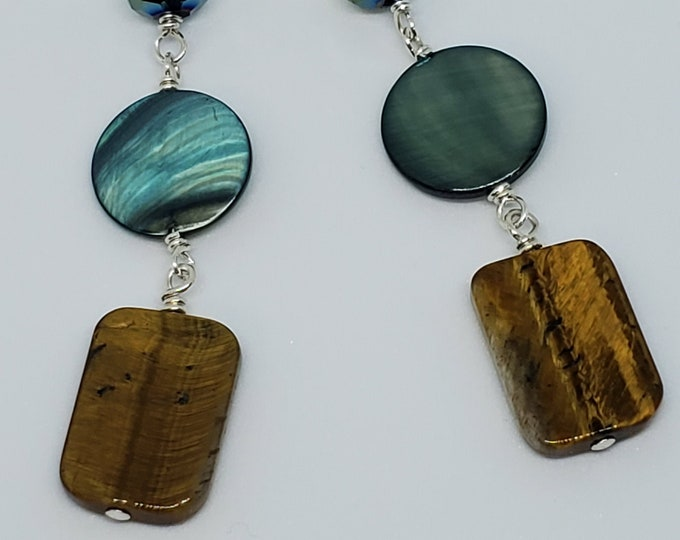 Tiger Eye Gemstone & Mother of Pearl earrings, one of a kind