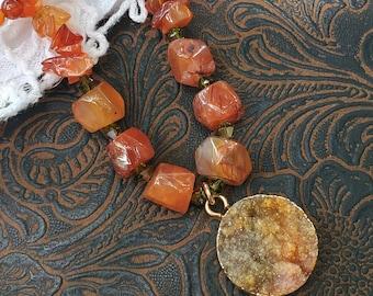 Carnelian Gemstones & Swarovski Crystals Necklace with Druzy Pendant, one of a kind