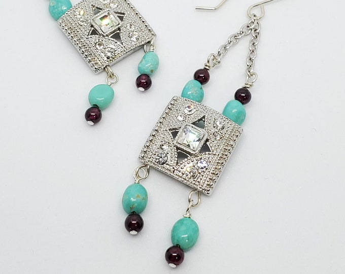 Turquoise & Garnet Gemstone Earrings, Western Glam long dangles with Rhinestones, one of a kind