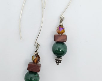 Green Malachite & Red Jasper Gemstones, Long dangle handmade earrings, one of a kind