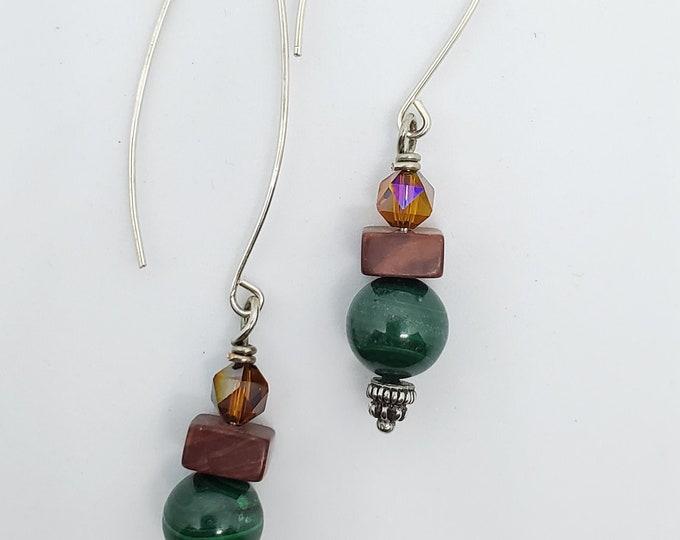 Green Malachite & Red Jasper Gemstones, Long dangle handmade earrings, one of a kind