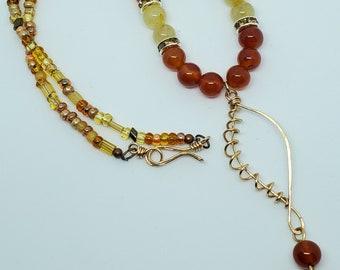 Carnelian & Rutilated Quartz Gemstones, Handmade Bronze Leaf Pendant Necklace, one of a kind