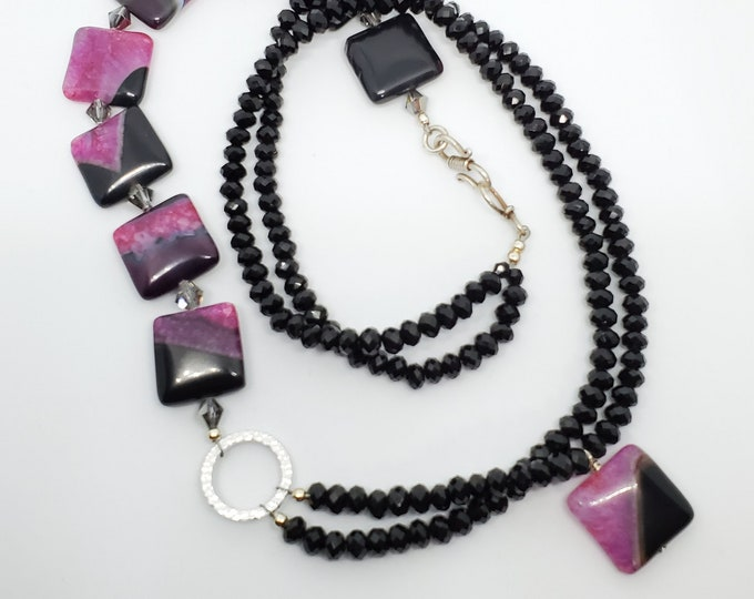 Black & Fuschia Banded Agate gemstone necklace, Long multistrand with silver accents, one of a kind