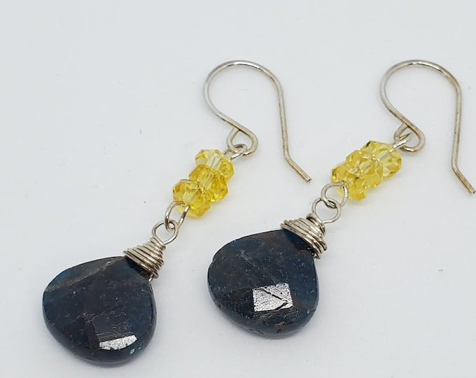 Blue Apatite Gemstones & Yellow Crystals, dangle earrings, one of a kind