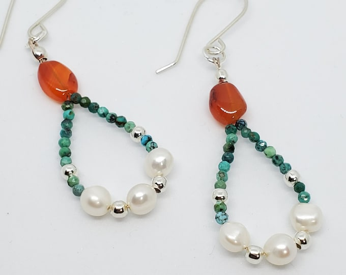 Turquoise, Carnelian and Freshwater Pearls hoop earrings, one of a kind gemstone jewelry