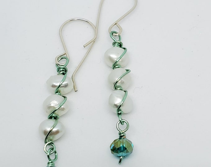 Wire-wrapped Freshwater Pearl dangle earrings with Teal crystals, one of a kind