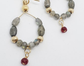 Labradorite & Ruby Hoop earrings with gold-filled accents, one of a kind