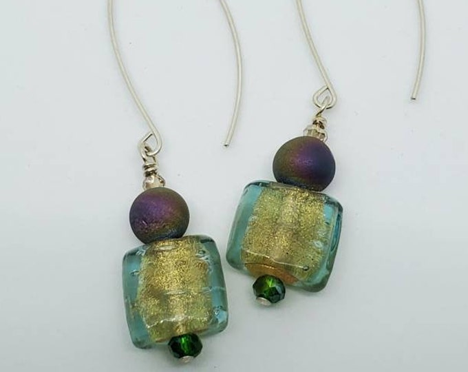 Multi-hued Agate Druzies  & Teal glass beads, dangle earrings on long contemporary earwires, one of a kind