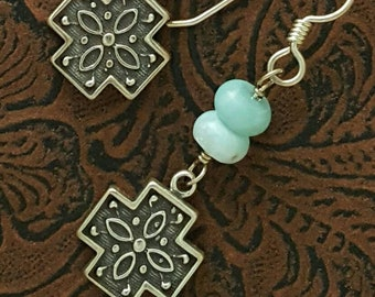 Larimar & Sterling Silver Cross Earrings, Gemstones with Ornate Silver Cross Dangles, one of a kind