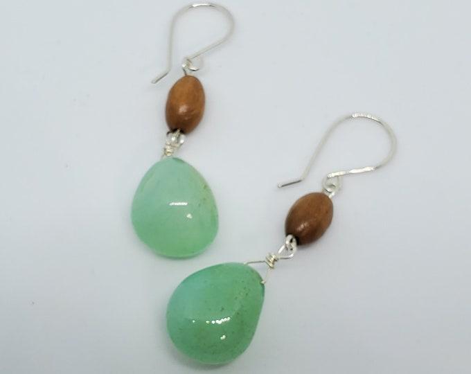 Blue Chalcedony & Olive Wood dangle earrings, handmade gemstone jewelry, one of a kind