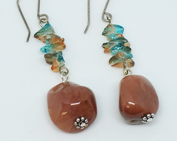 Rust Agate Nuggets with tinted Quartz Chips dangle earrings, earthy mauve / turquoise hues, one of a kind
