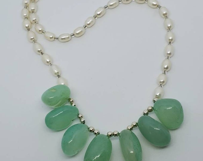 Blue Chalcedony Gemstones & Freshwater Pearls Necklace, Elegant Bridal jewelry, one of a kind