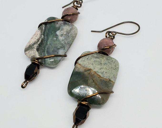 Green Jasper & Rhodonite gemstone dangle earrings, wire-wrapped, copper accents, one of a kind