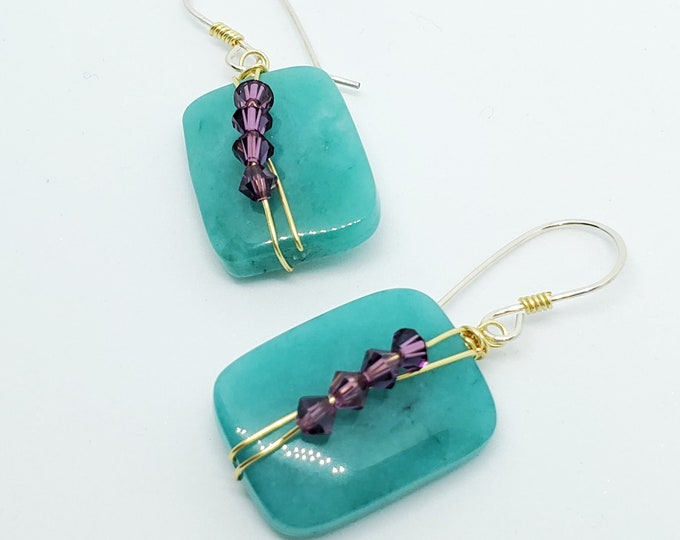 Teal Blue Tinted Jade dangle earrings with purple crystals, wire-wrapped, one of a kind