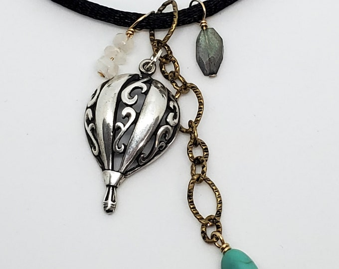 Sterling Silver Hot Air Balloon Necklace with Turquoise, Moonstone, & Labradorite Accents, whimsical, one of a kind