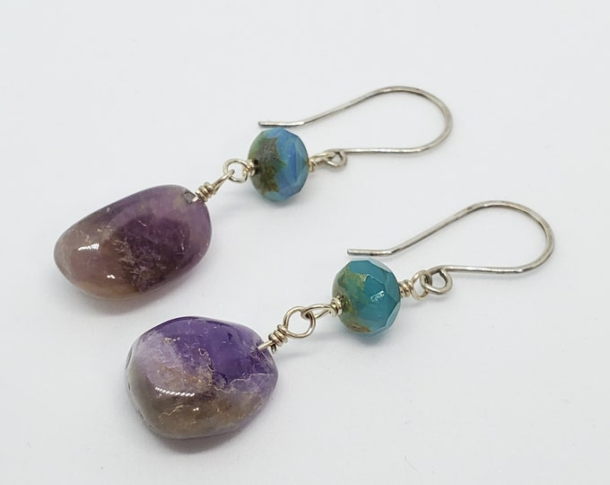 Amethyst Gemstones & Teal Beads, dangle earrings in purple and blue green, one of a kind