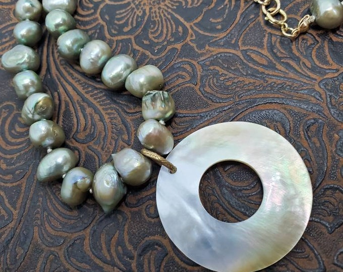 Moss Green Freshwater Baroque Pearls Necklace with Mother of Pearl Pendant, hand-knotted, one of a kind