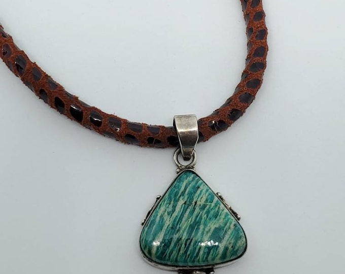 Vintage Pendant, Teal Green Jasper & Sterling Silver, on Suede Pebble Leather Necklace, one of a kind