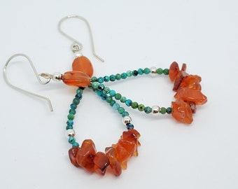 Turquoise & Carnelian Gemstone Hoop earrings, one of a kind
