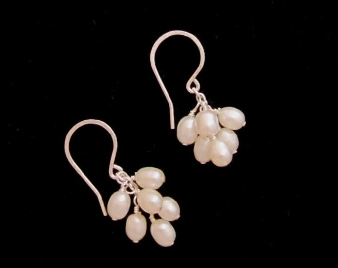 Freshwater Pearls Cluster Earrings, perfect for the Bride or Bridesmaid, one of a kind