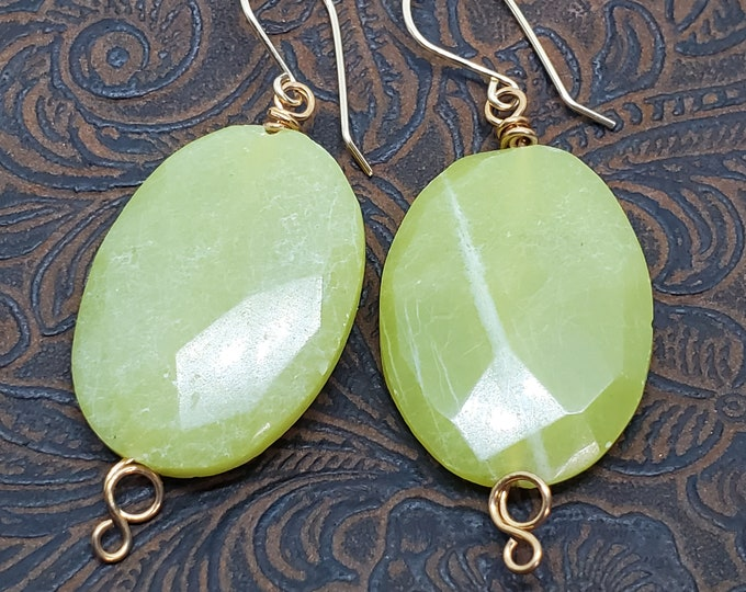 Vintage Lime Green Jade Gemstone dangle earrings with Gold Wire-Wrapping, one of a kind