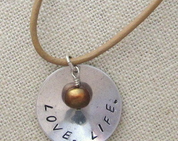 Love. Life. Personalized Silver Pendant with Freshwater Pearl