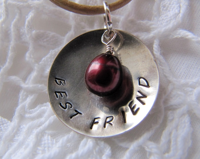 Best Friend Hand-Stamped Pendant & Leather Necklace, Freshwater Pearl Dangle, Personalized Gift