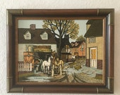 H. Hargrove Vintage Signed Oil on Canvas Serigraph of Blacksmith Shop with Horses