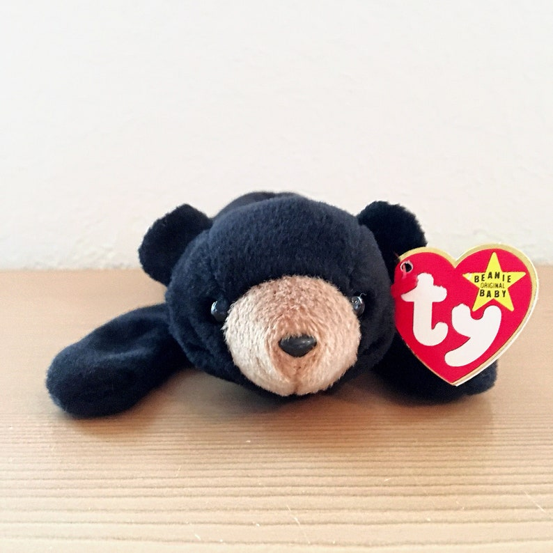 22d52414759 Vintage Ty Beanie Baby Blackie the Black Bear with Fourth