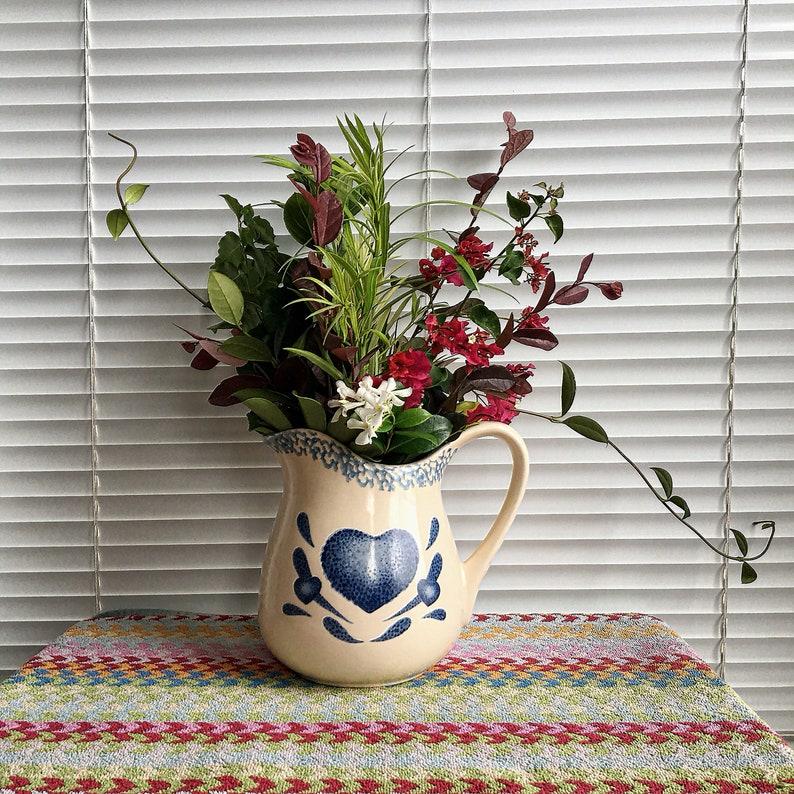 Vintage Cream and Blue Spongewear Heart Ceramic/Pottery Pitcher for  Milk/Juice/Water