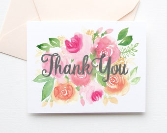 Floral Thank You Card, Thank You Card with Flowers, Floral Watercolor Thank You, No. 281C