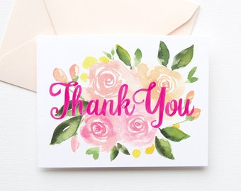 Floral Thank You Card, Thank You Card with Flowers, Floral Watercolor Thank You, No. 280C
