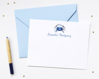 Nautical Personalized Stationery / Personalized Stationery Set / Personalized Note Card Set / Personalized Note Cards / Blue Crab