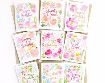 Floral Watercolor Birthday Card Set, Assorted Flower Greeting Cards, Pretty Happy Birthday Cards Set of 9